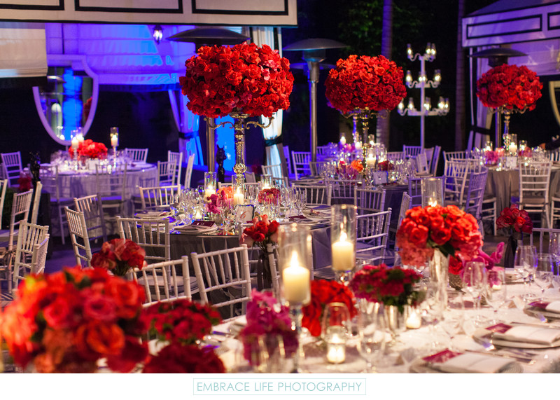 Reception Tables with Candelabra Flower Arrangements