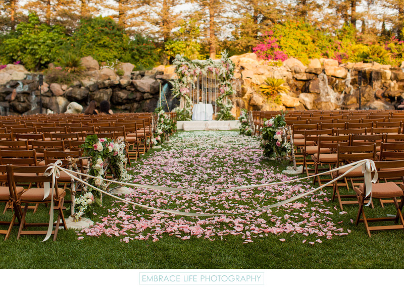 Bohemian Petal Covered Wedding Aisle