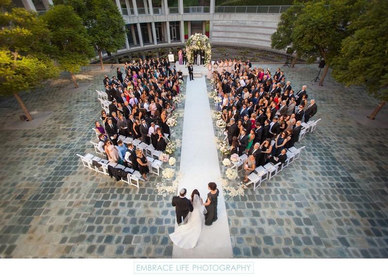 Skirball Center Wedding Ceremony in the Taper Courtyard