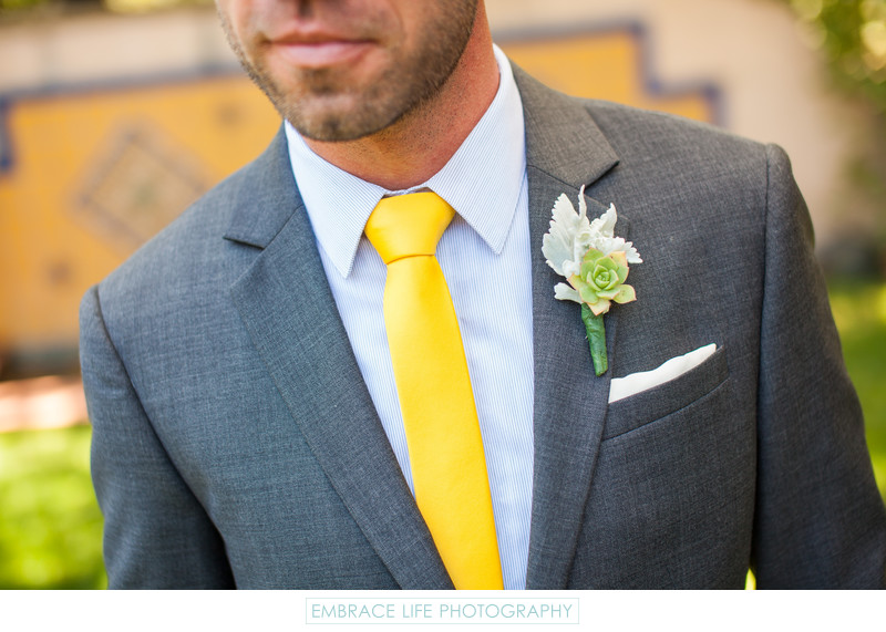 Groom w/ Facial Hair, Yellow Tie, Grey Suit, Succulent