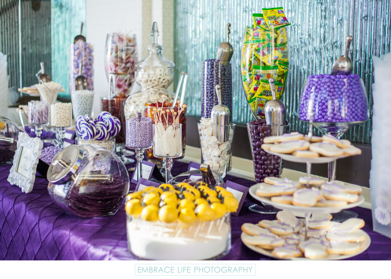 Purple Candy Table at LOEWS Santa Monica Beach Wedding