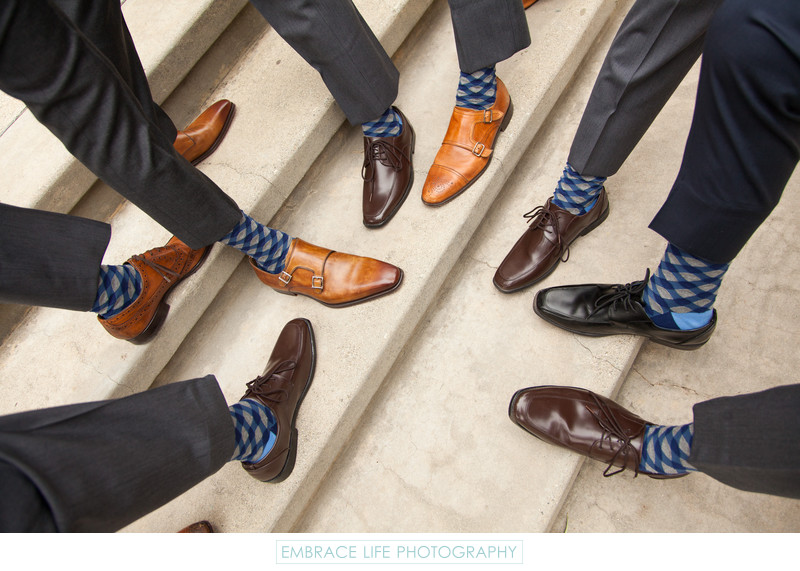 Pasadena, CA Wedding Photographer - Groomsmen Socks