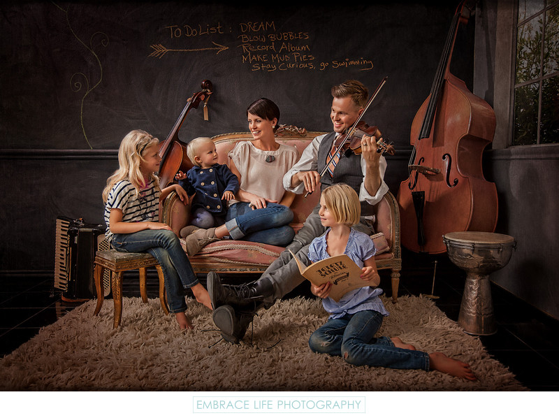 Editorial Style Portrait of Creative Musician Family