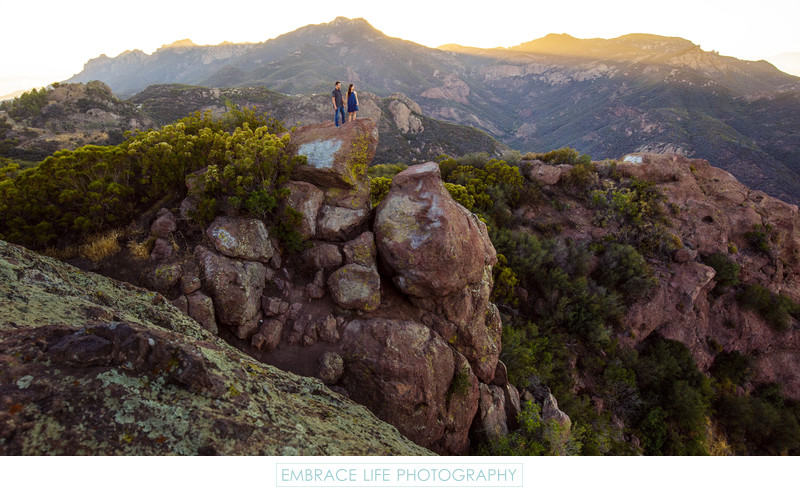 Rock Climbing Engagement Portrait with Amazing Vistas