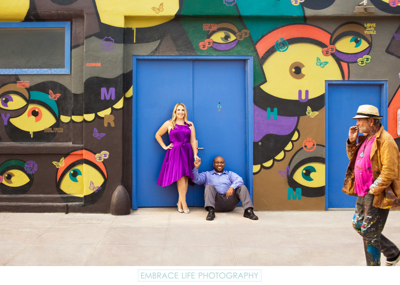 Venice Beach Engagement Portrait with Colorful Mural