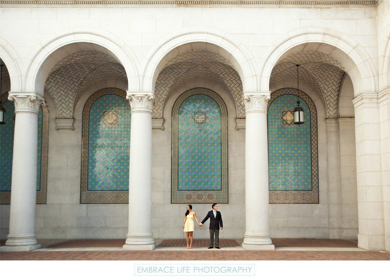 Los Angeles City Hall Engagement Portrait in DTLA