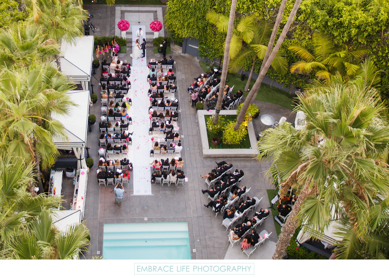 Aerial View of Wedding Ceremony at Viceroy Santa Monica