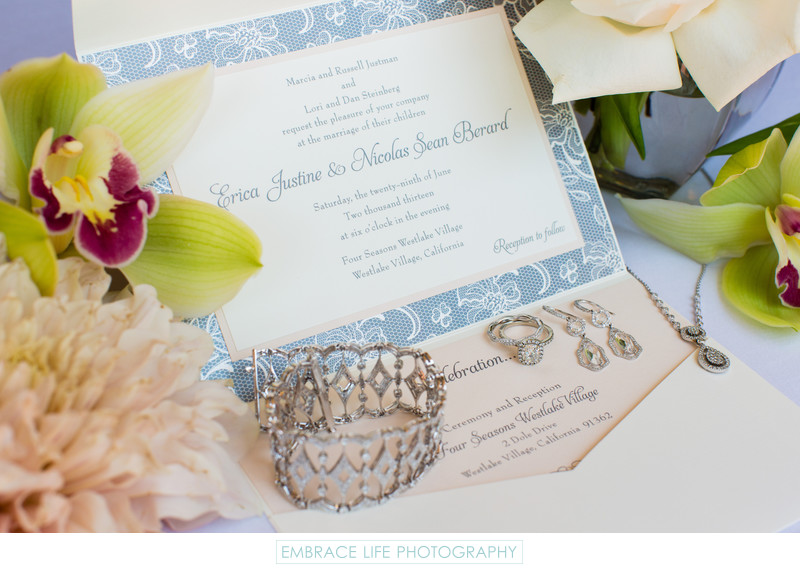 Los Angeles Wedding Invitations: Blue Floral Wedding Invitation And Ring