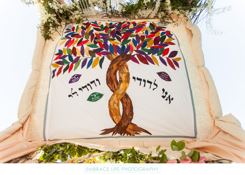 Embroidered Family Tallis on the Beautiful Chuppah