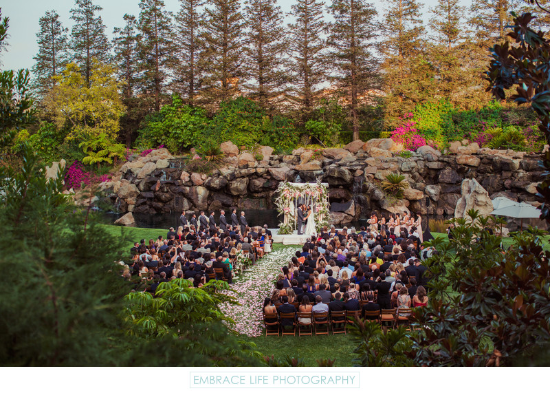 Garden Waterfall Wedding Ceremony with Redwood Trees