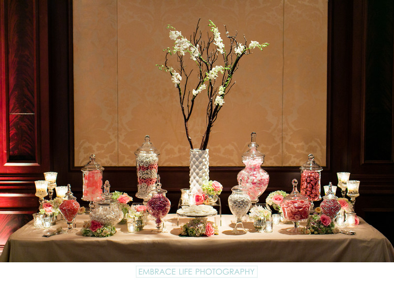 Wedding Reception Candy Table with Apothecary Jars