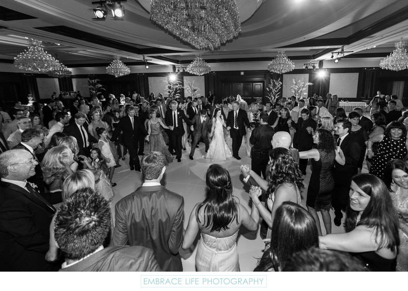 Round White Dance Floor & Crystal Ballroom Chandeliers