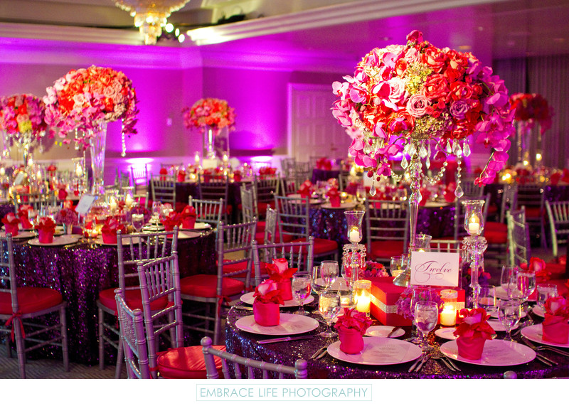 Pink And Purple Wedding Reception Decor The London West Hollywood