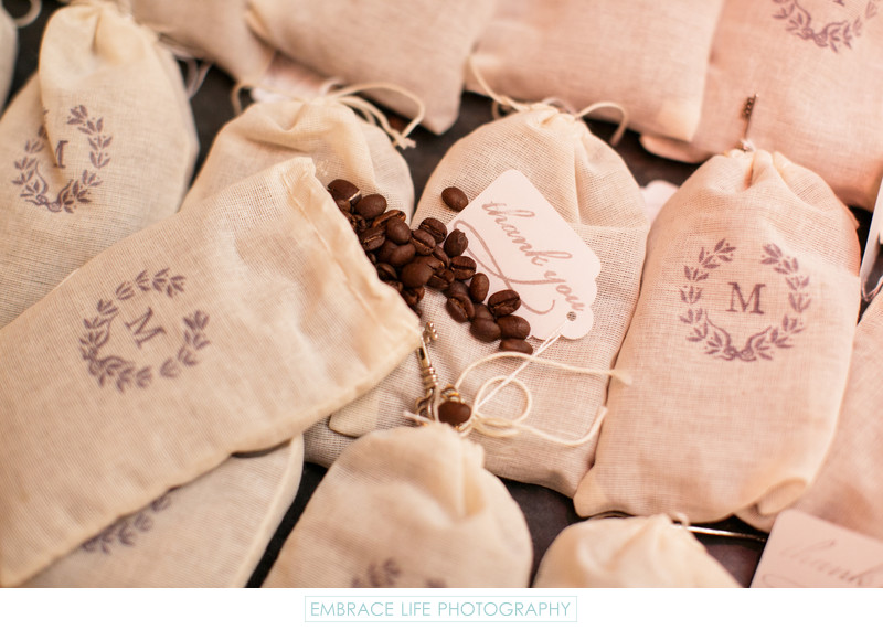Monogrammed Gift Bags of Coffee Beans