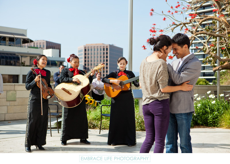 Mariachis Serenade Engagement Proposal in L.A.