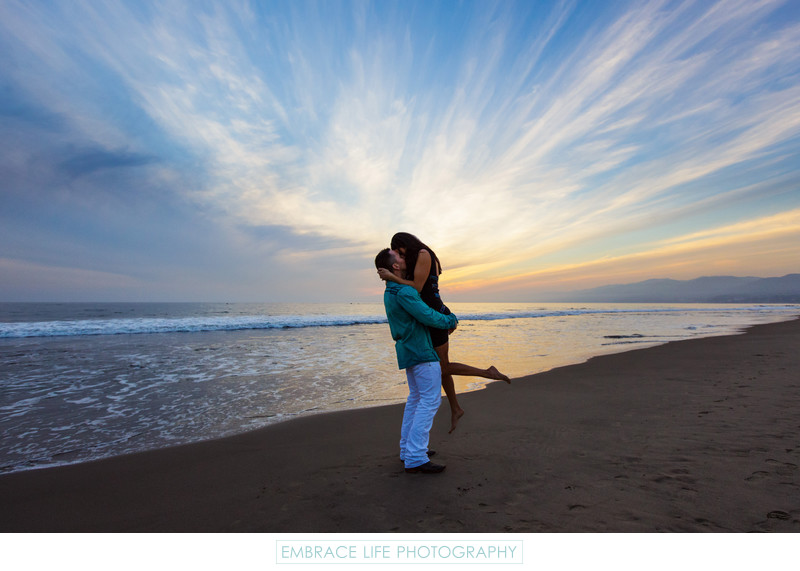 Sunset Proposal on the Beach in Santa Monica, CA