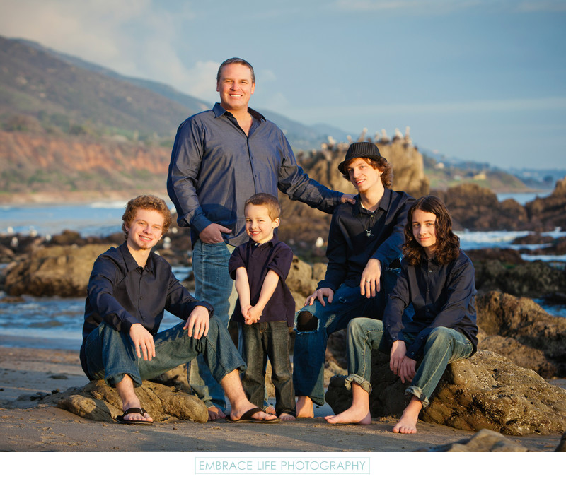 Family Portrait on the Beach in Malibu