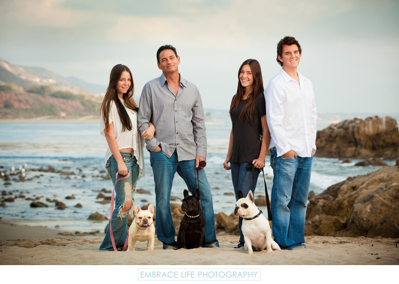 Family Portrait with dogs on Malibu Beach