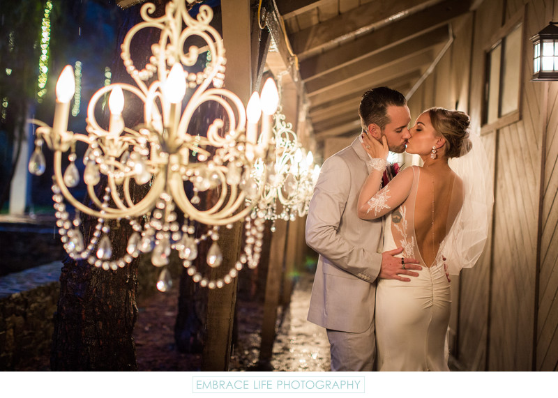Calamigos Ranch Wedding Portrait at Night in Malibu, CA