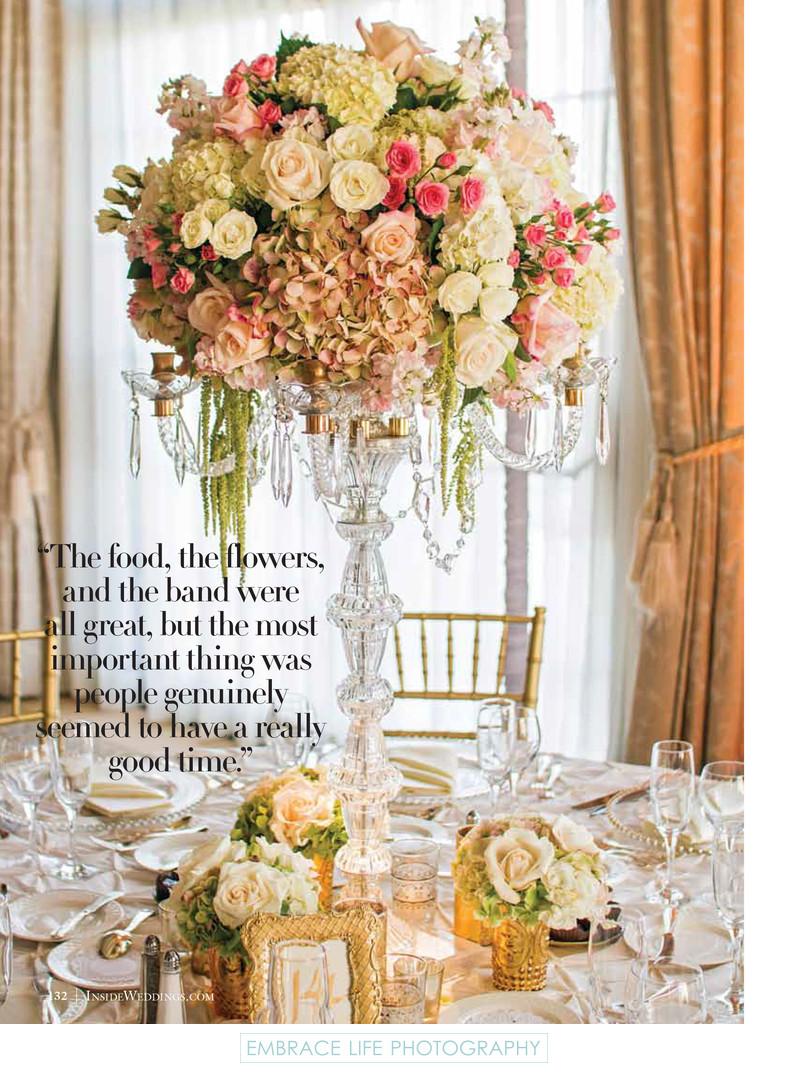 Crystal Candelabra Flower Centerpiece - Inside Weddings - Riviera ...