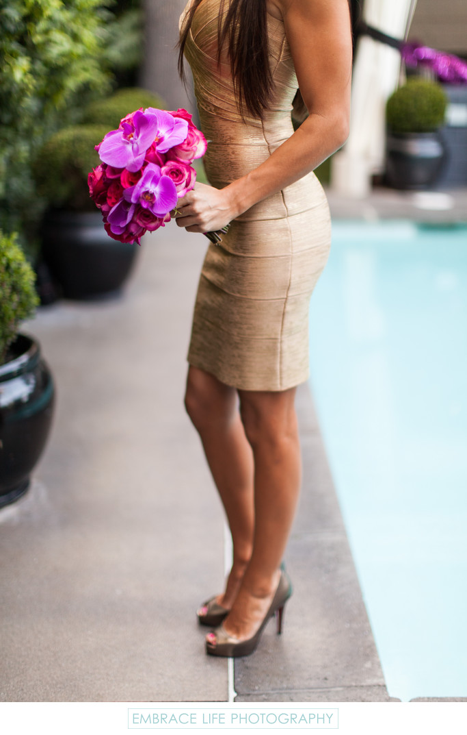 Bridesmaid in Gold Herve Leger Dress