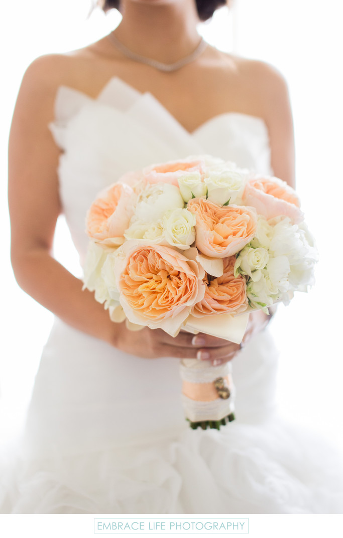 Peach Peony Bouquet and Asymmetrical Bridal Gown