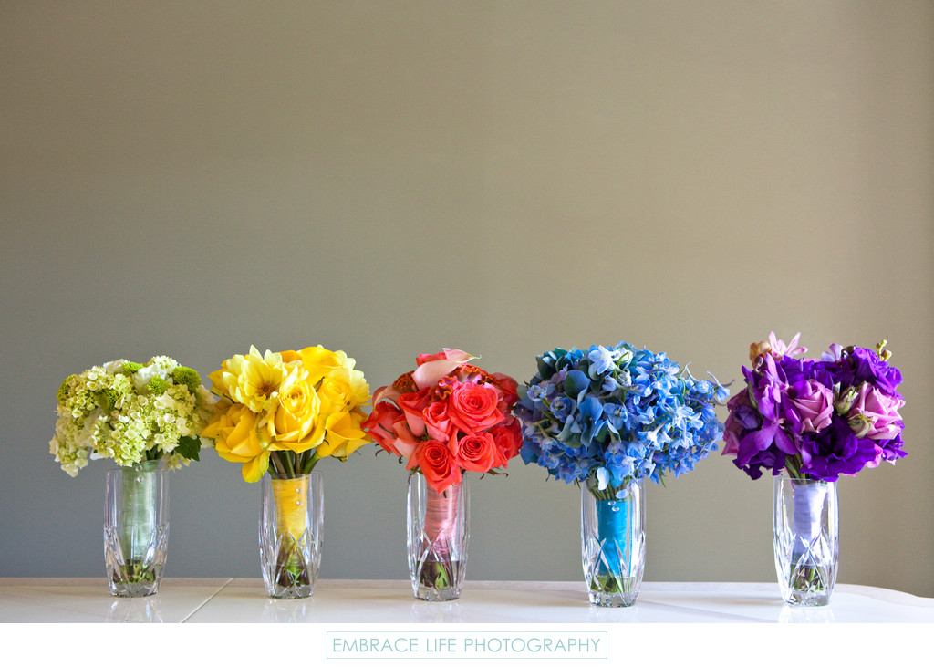 Multi Colored Bridesmaids Bouquets