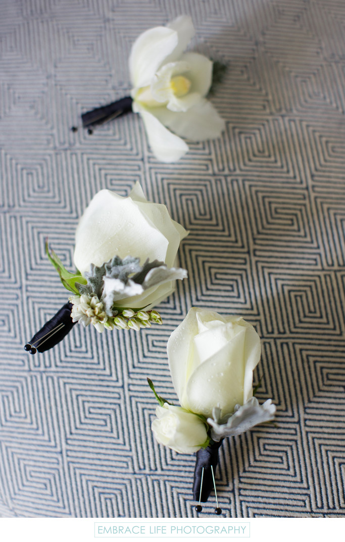 Boutonnieres at Park Hyatt Aviara Resort Wedding