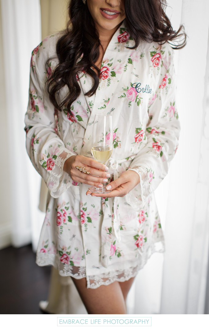 Floral Bridesmaid Robe at London West Hollywood Wedding