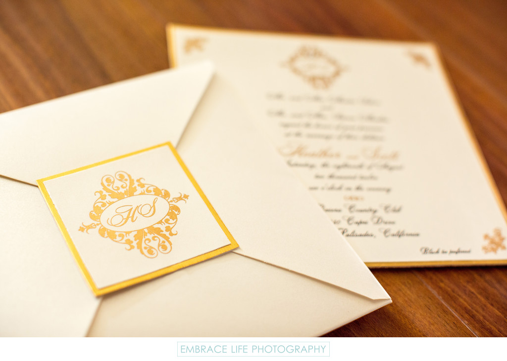 Gold Trim Wedding Invitations