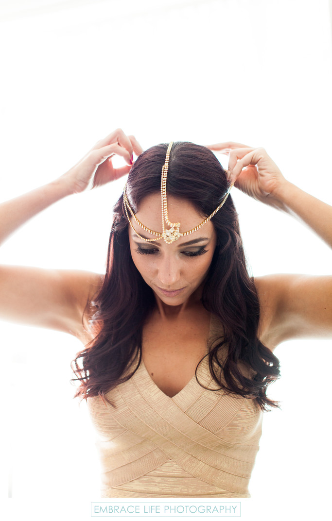 Bridesmaid Putting on Bohemian Hindu Headpiece