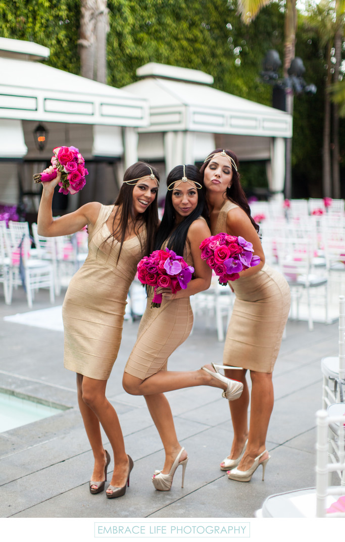 Bridesmaids Fun Pose Poolside