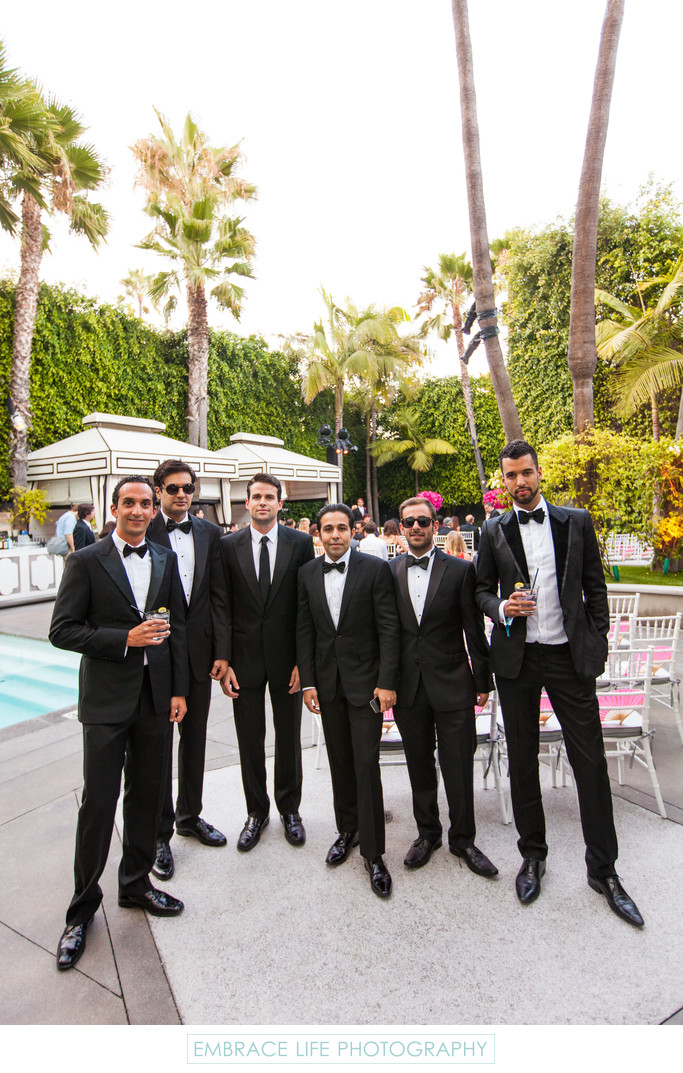 Groomsmen Casually Pose Poolside
