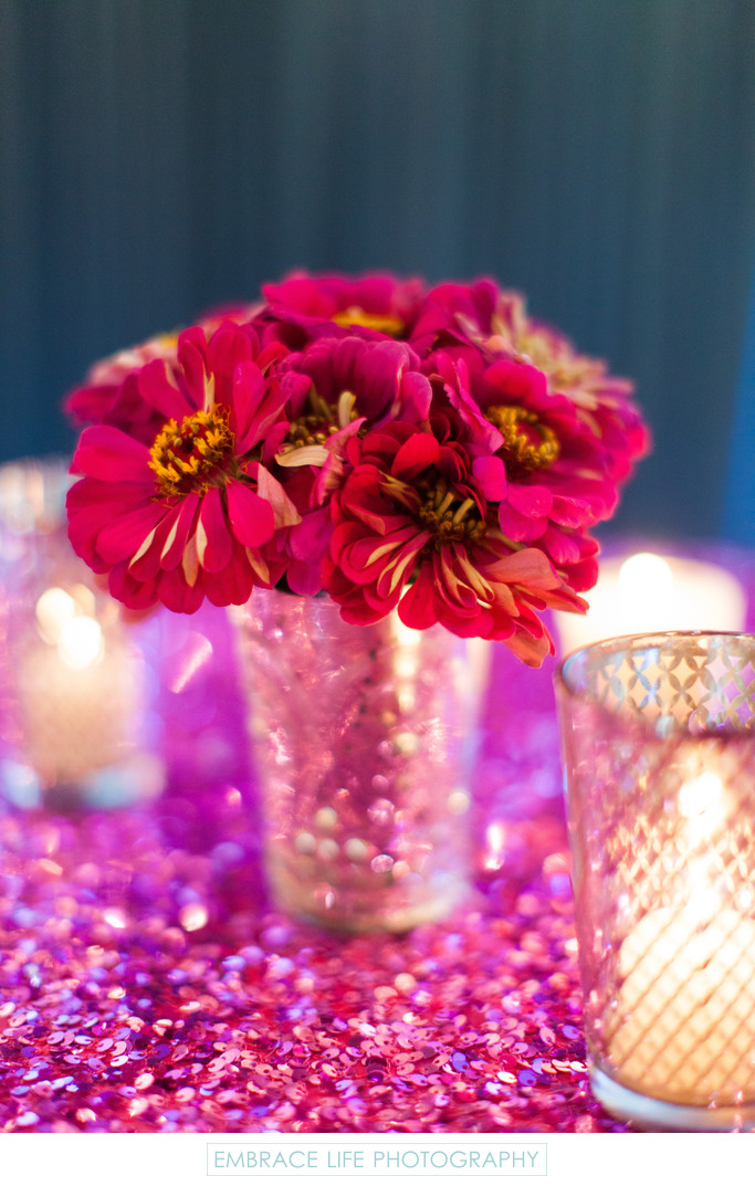 Fuchsia Gerbera Daisies with Gilded Candles