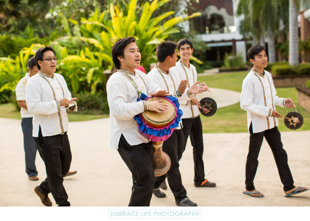 Thai Drummers Announce Groom at Destination Wedding