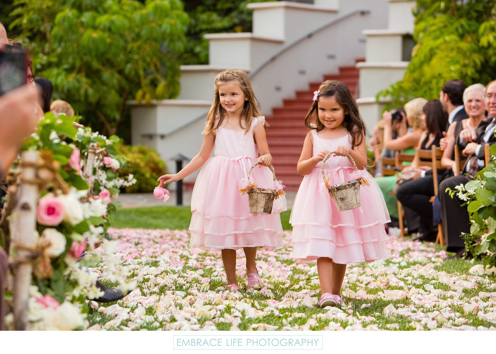 Flower Girls in Pink Dresses with Bark Flower Baskets