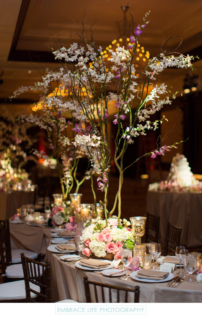 Rustic Birch Bark and Floral Centerpieces