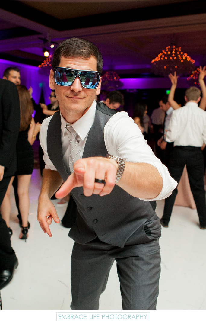 Groom Wears Sunglasses on Wedding Reception Dance Floor