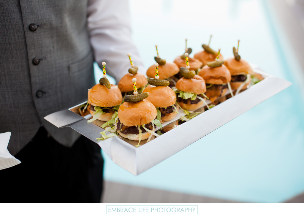 Sliders on Modern Silver Tray Served Poolside