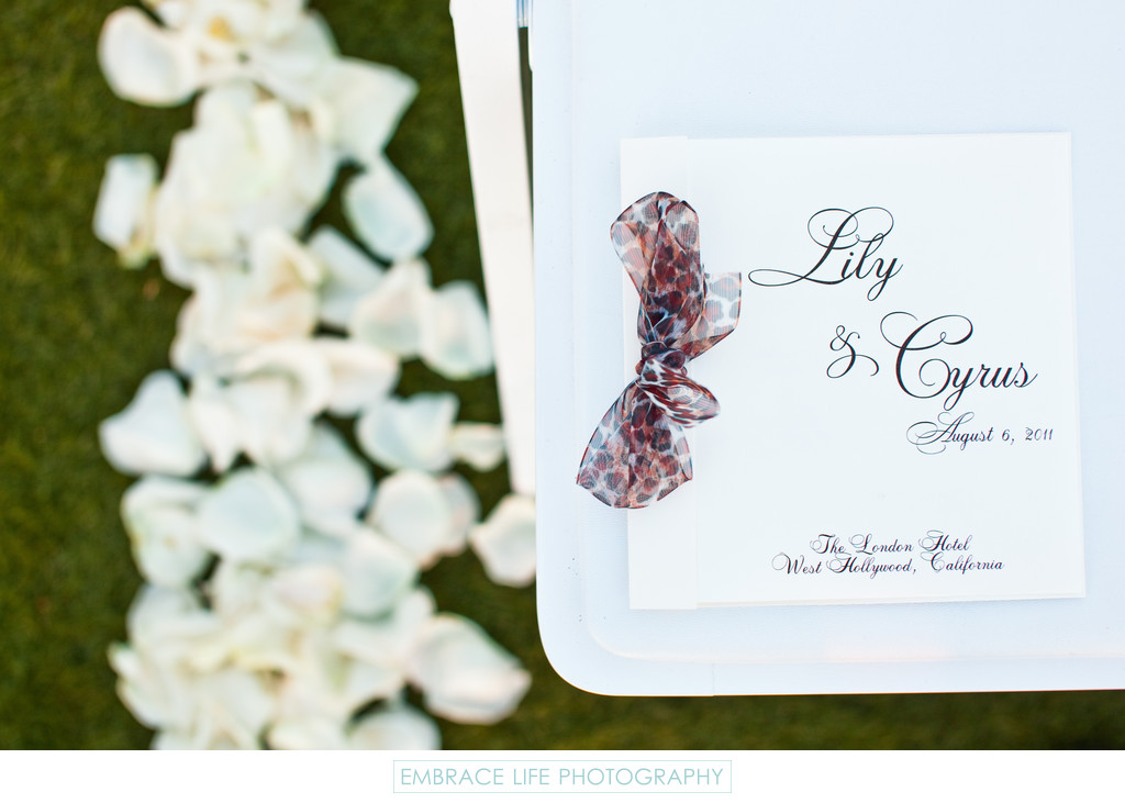 Wedding Ceremony Program w/ Leopard Ribbon