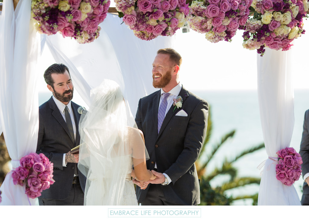 Happy Groom Smiles During Los Angeles Beach Wedding