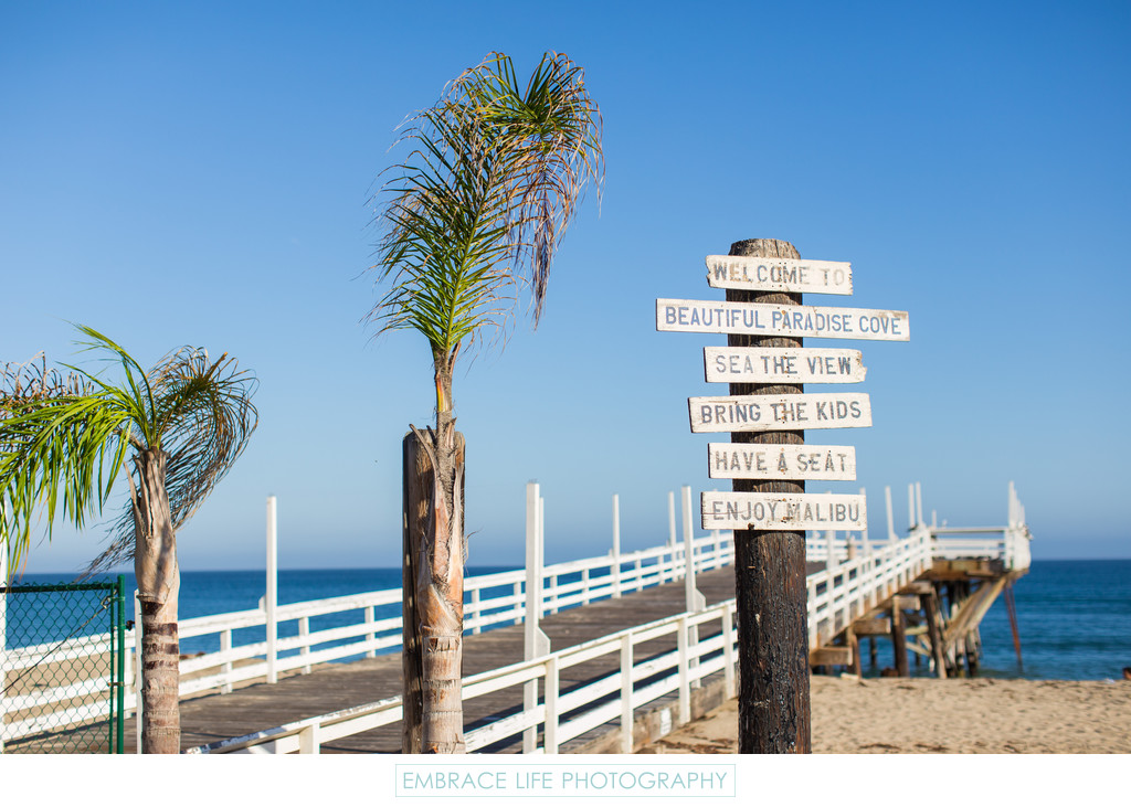 paradise cove beach pier signage in malibu ca. Black Bedroom Furniture Sets. Home Design Ideas