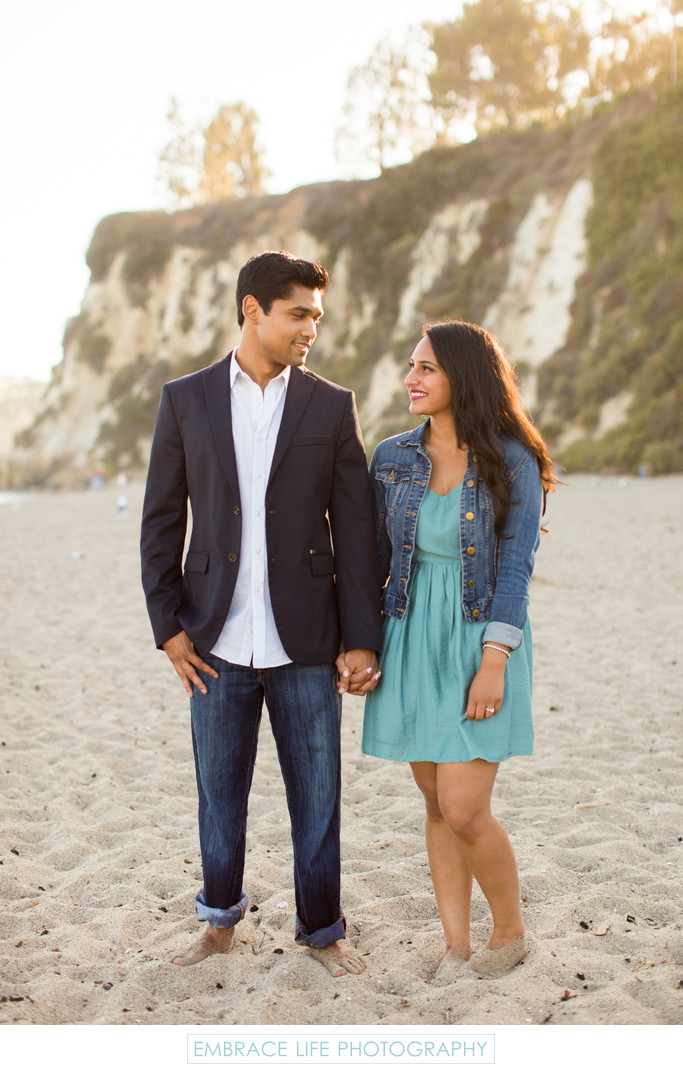 Portrait of Engaged Couple at Paradise Cove in Malibu
