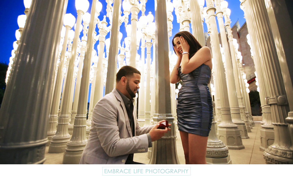Los Angeles Marriage Proposal Photography at LACMA