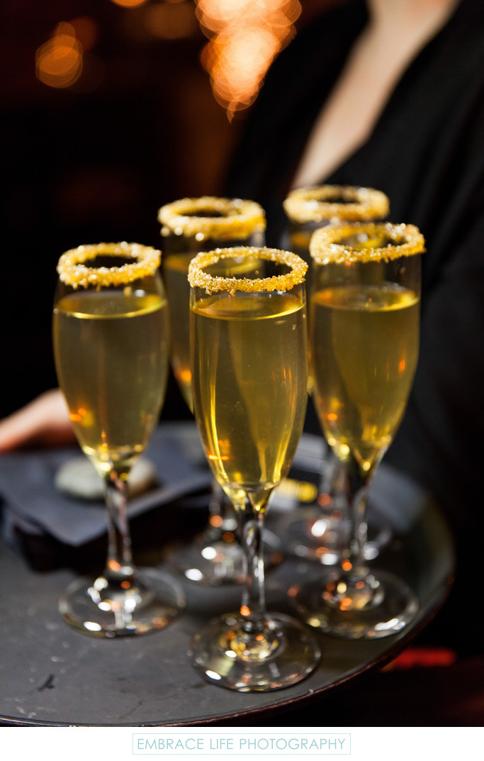 Gold Sugar Rimmed Champagne Glasses
