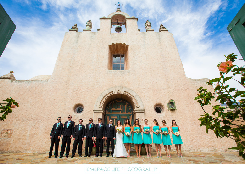 Our Lady Of Mount Carmel Church Wedding Party Portrait