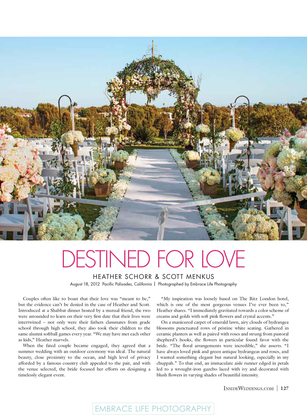 Floral Lined Aisle and Chuppah - Inside Weddings