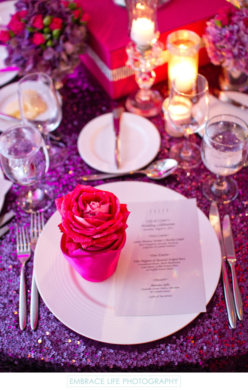 Purple Sequin Tablecloth Pink Napkin and Rose