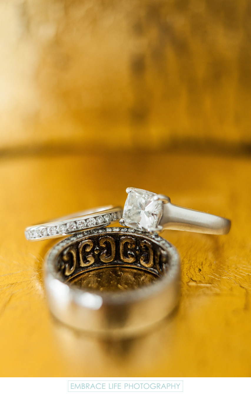 Creative Wedding Ring Detail Photograph on Gold