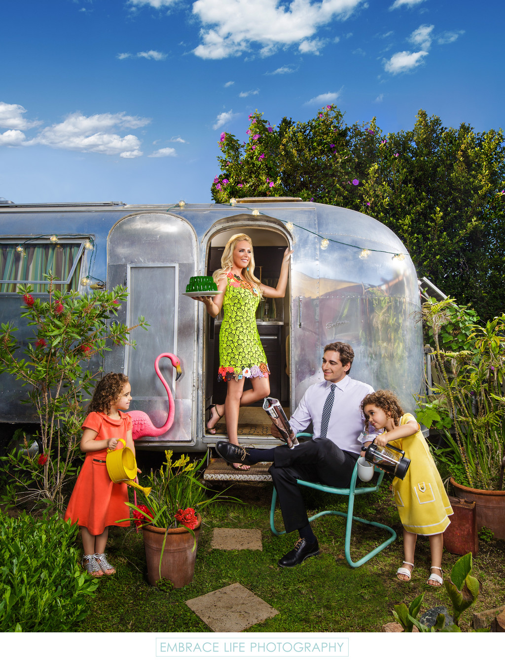 Colorful Family Portrait With Airstream Trailer